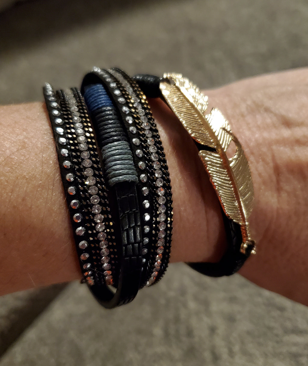 Gold-Black Leather Bracelet