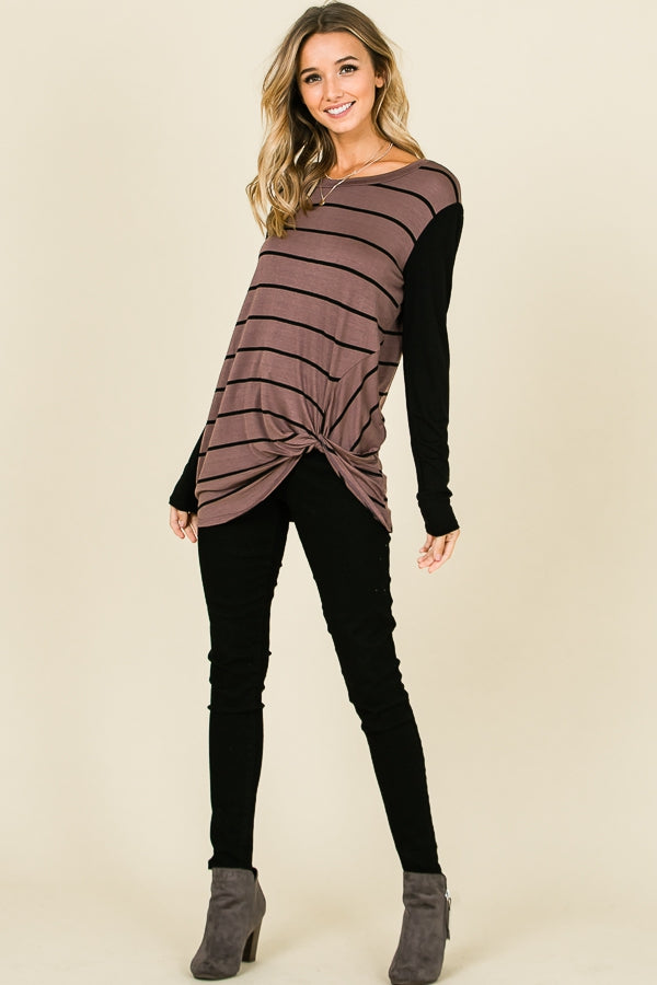 Mocha Striped Front Knot Tunic Top - EmmyLou Boutique