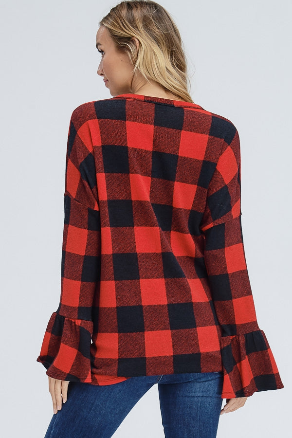 Ruffle Sleeve Plaid Button Down Top - EmmyLou Boutique