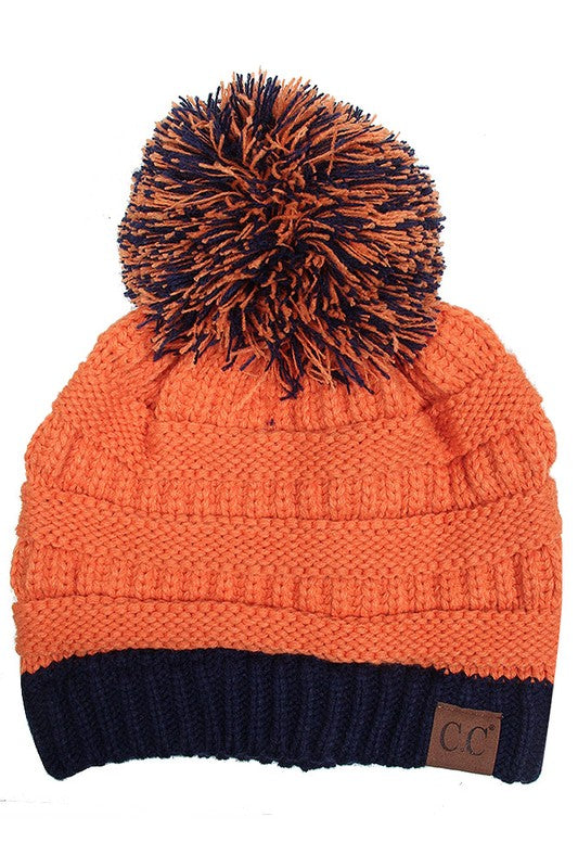 CC Orange/Blue Pom Beanie - EmmyLou Boutique