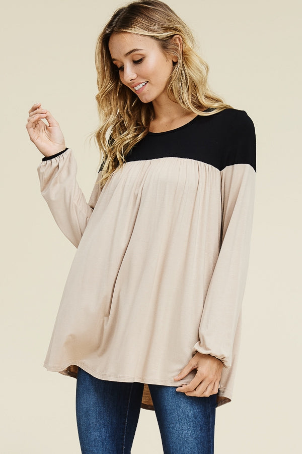 Relaxed Long Sleeve Color Block Top - EmmyLou Boutique