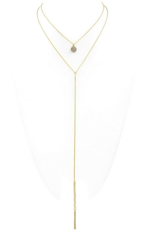 Gold Double Layered 'Y' Drop Necklace