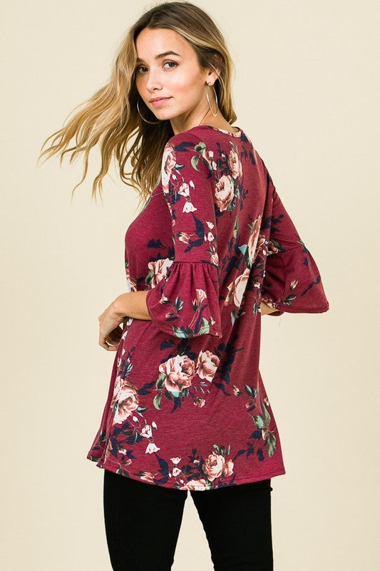 Ruffle Sleeve Floral Tunic Top - EmmyLou Boutique