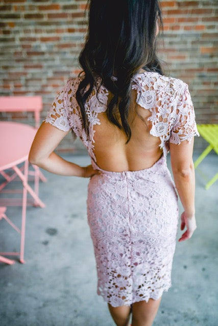 Crochet Lace Dress With Open Back - EmmyLou Boutique