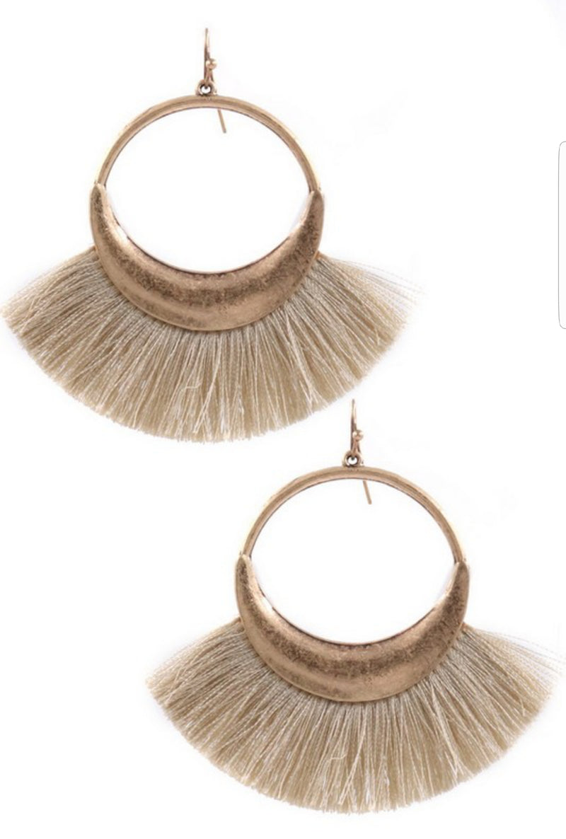 Tan Fringe Metal Ring Drop Earrings - EmmyLou Boutique