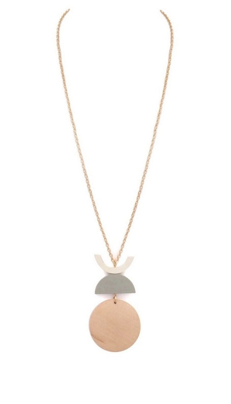 Stacked Wooden Semi Circle Pendant Necklace - EmmyLou Boutique