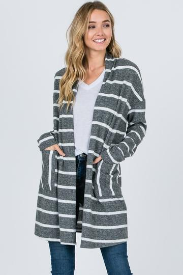 Striped Outerwear Cardigan with Pockets - EmmyLou Boutique