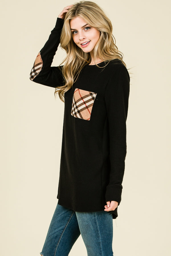 Long Sleeve Black Shirt with Beige Patch - EmmyLou Boutique