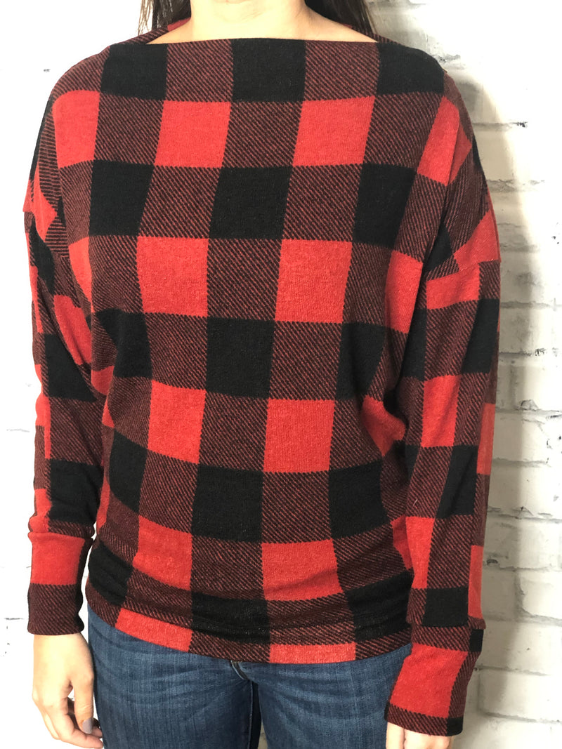 Dolman Sleeve Plaid Knit Sweater - EmmyLou Boutique