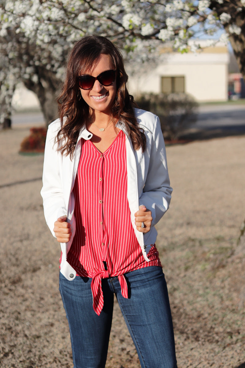 Red Sleeveless Front Tie Top