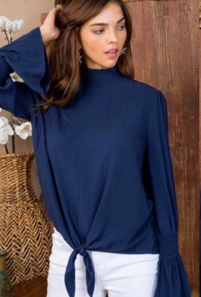 Navy Mock Neck Ruffle Sleeve Top