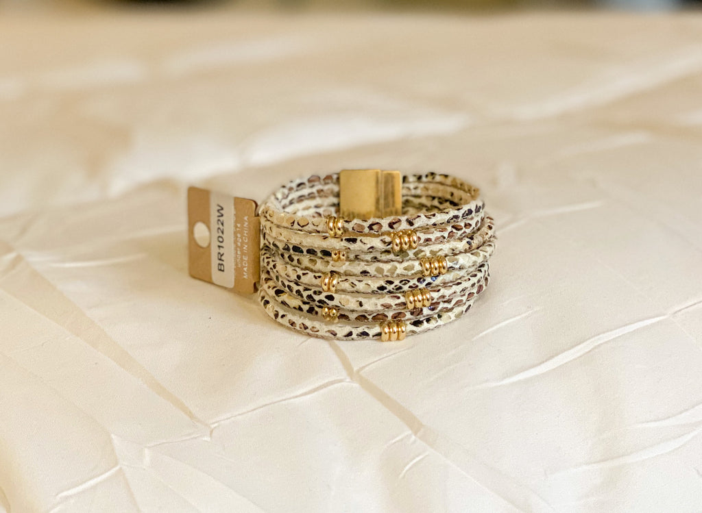 Faux Leather Snake Print Bracelet