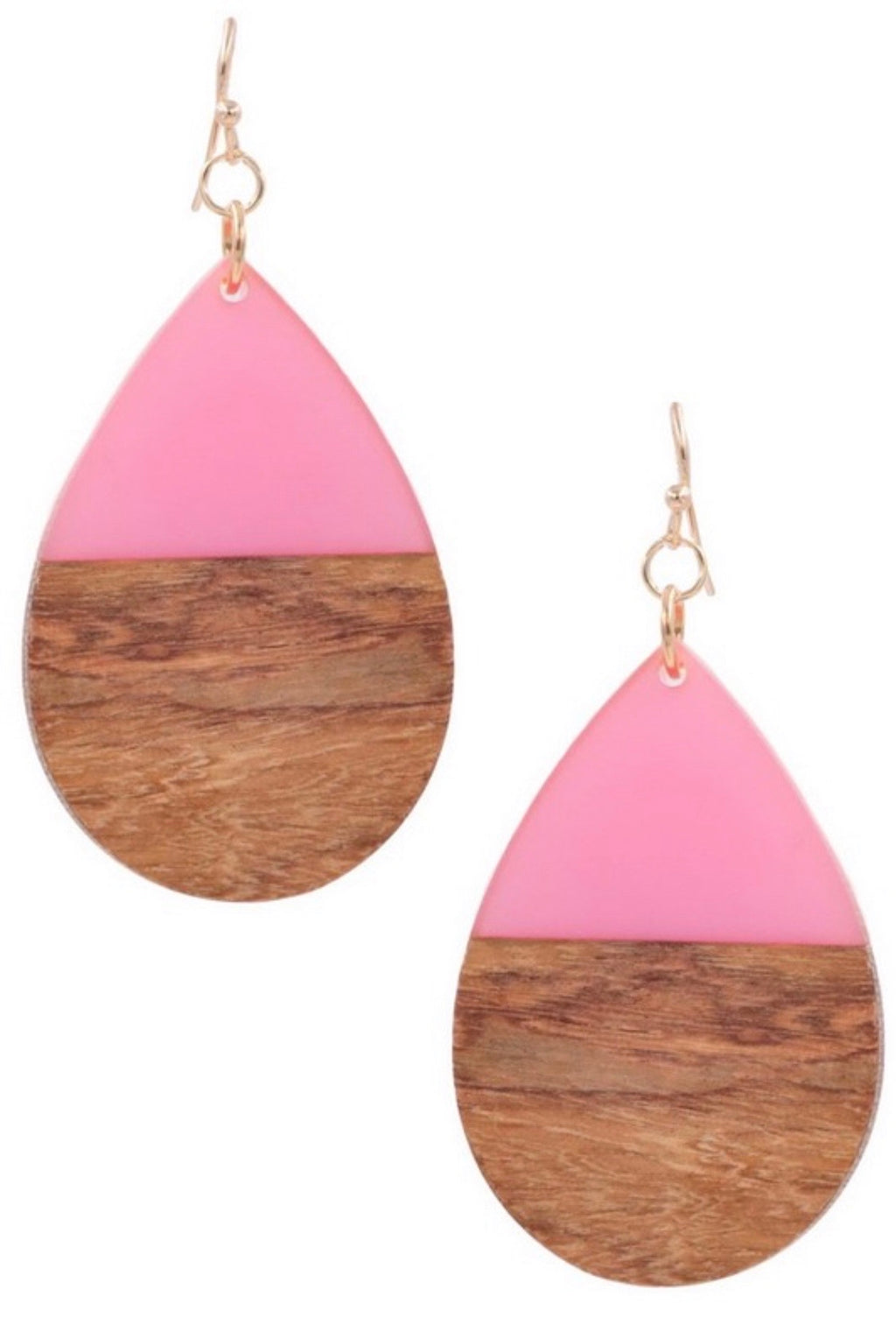 Fuchsia Wood/Resin Teardrop Earrings