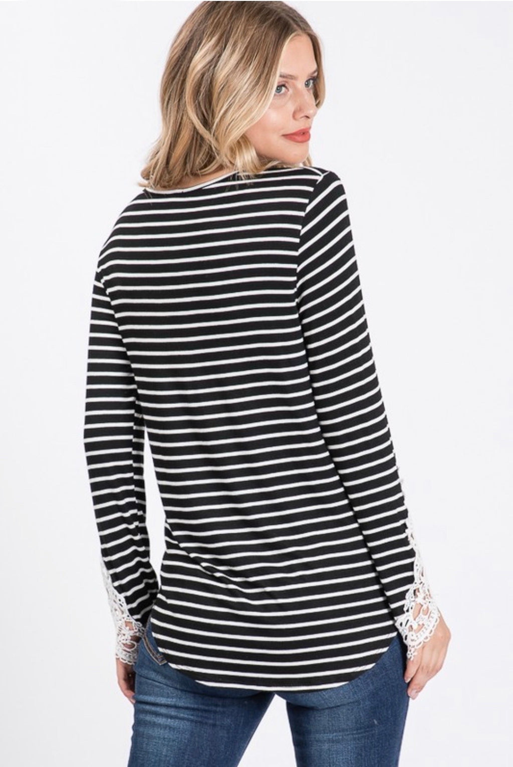 Black Striped Chrochet Trim Top
