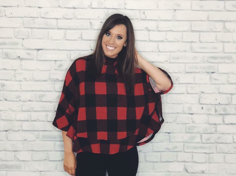 Checkered Cowl Neck Poncho - EmmyLou Boutique