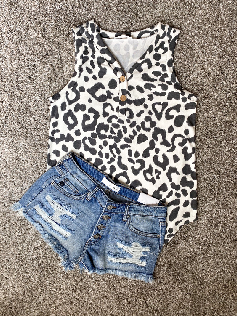 Black Animal Print Button Top