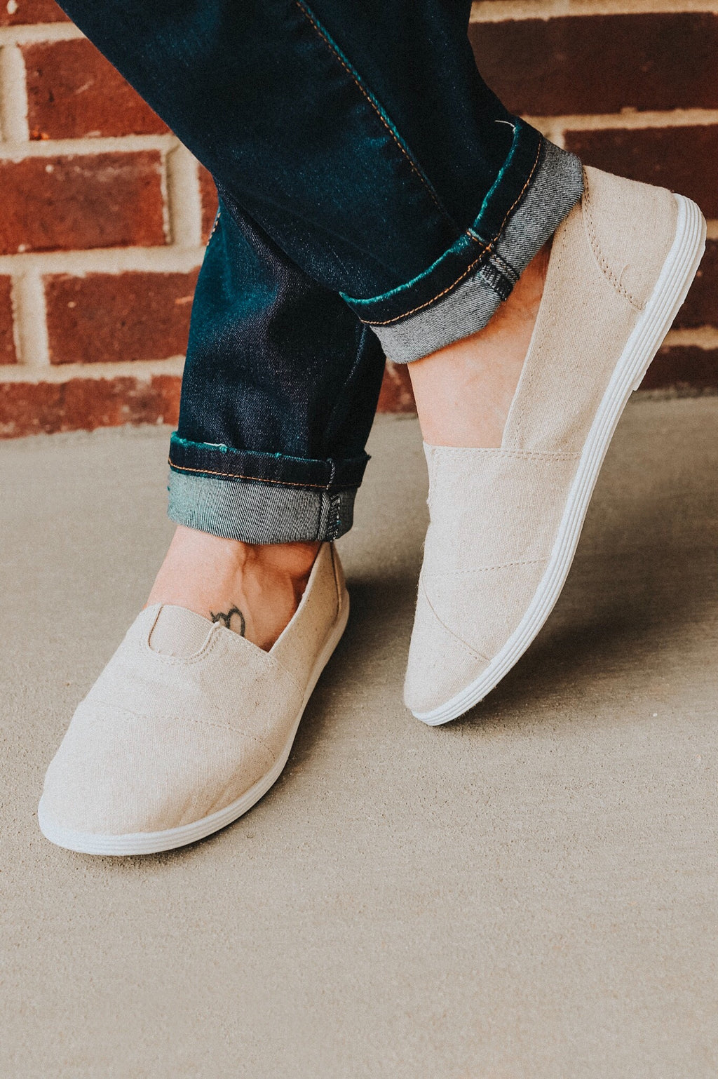 Beige Casual Slip-On Shoes