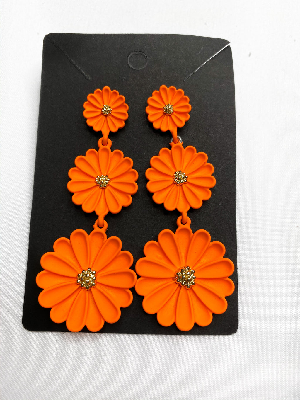 Neon Orange Flower Earrings