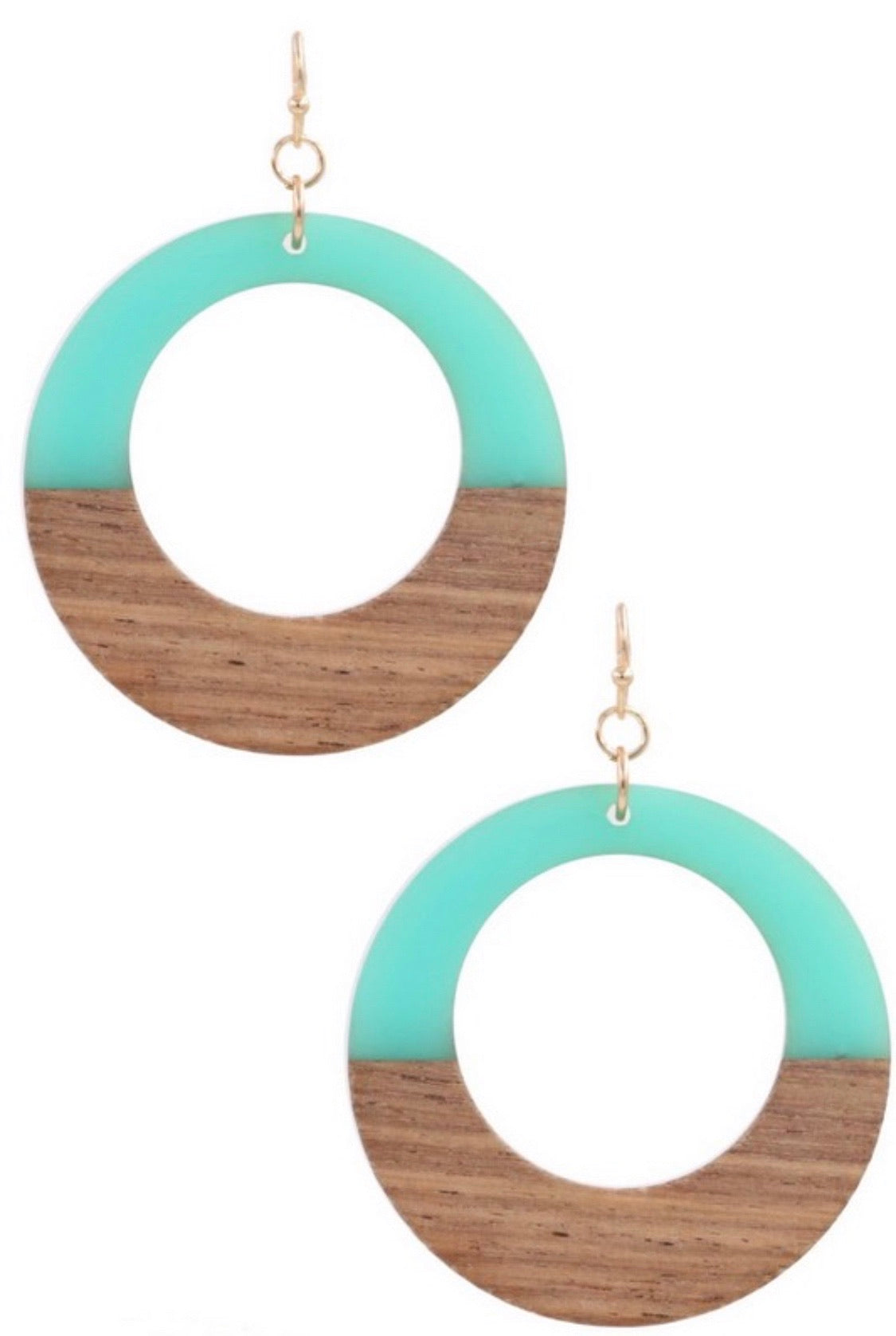 Wood/Resin Hoop Earrings