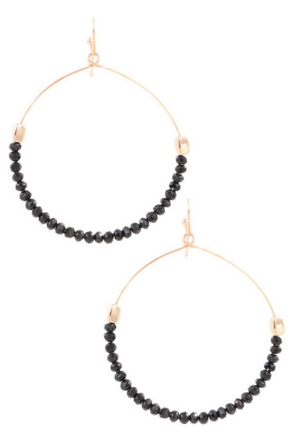 Black Stone Beaded Earrings