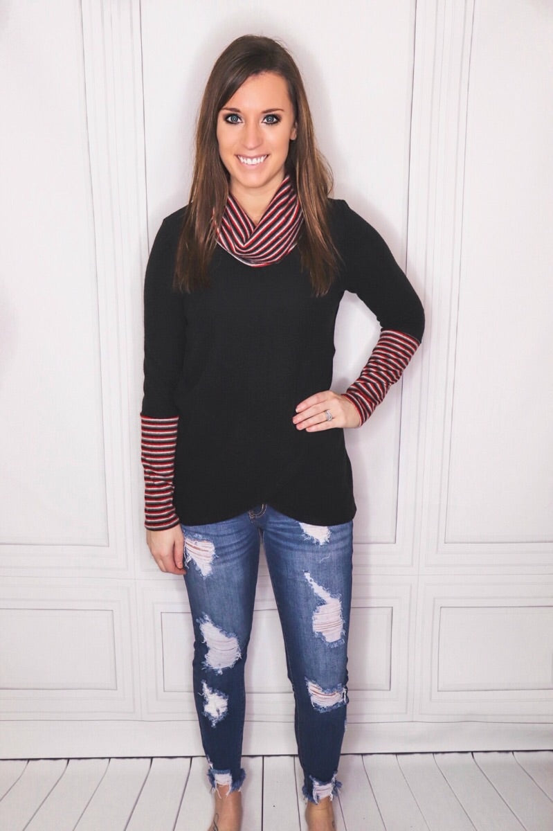Striped Cowl Neck Long Sleeve Knit Sweater - EmmyLou Boutique