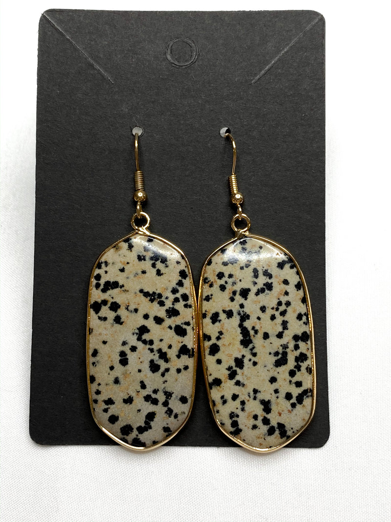 Dalmatian Jasper Metal Stone Earrings