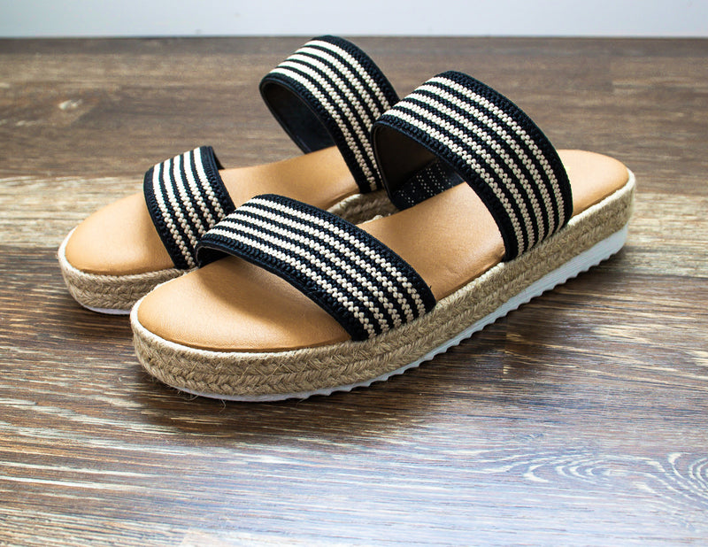 Black Striped Espadrilles Sandals