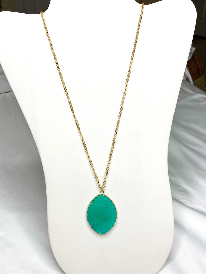 Aqua Leaf Stone Pendant Necklace