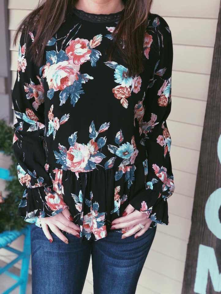Floral Top with Collard Neck - EmmyLou Boutique