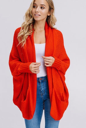 Batwing Sleeve Cardigan w/ Pockets