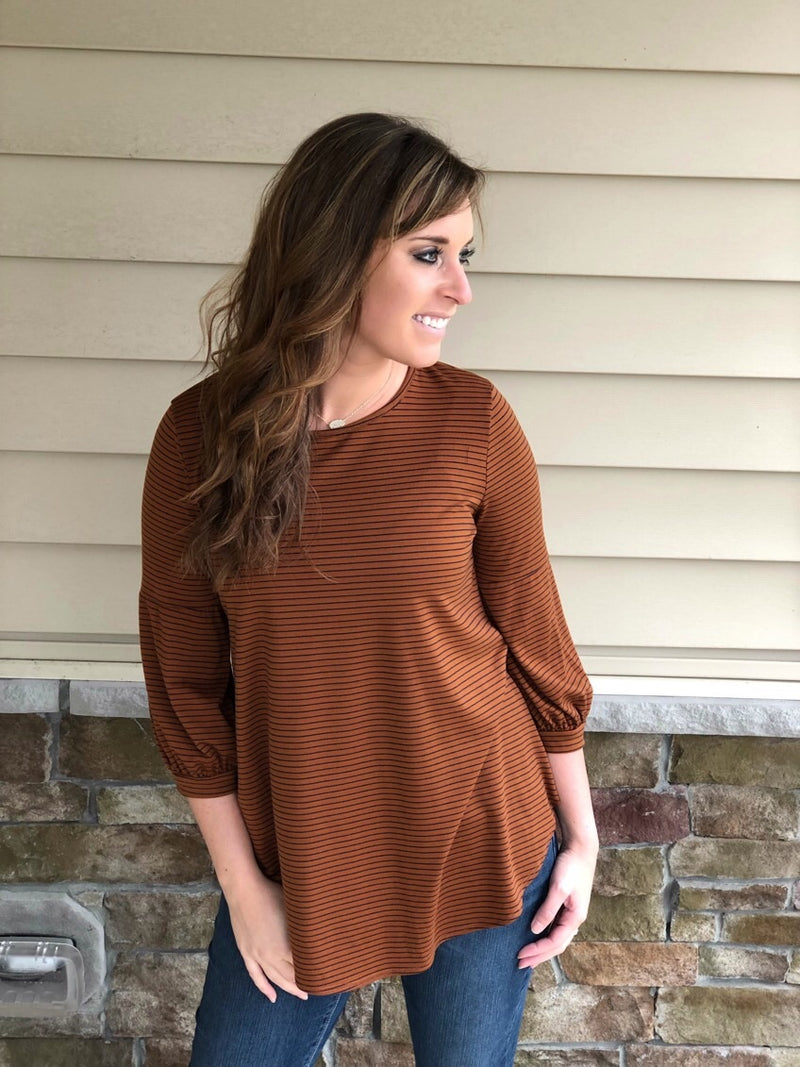 Striped Top with 3/4 Length Sleeves - EmmyLou Boutique