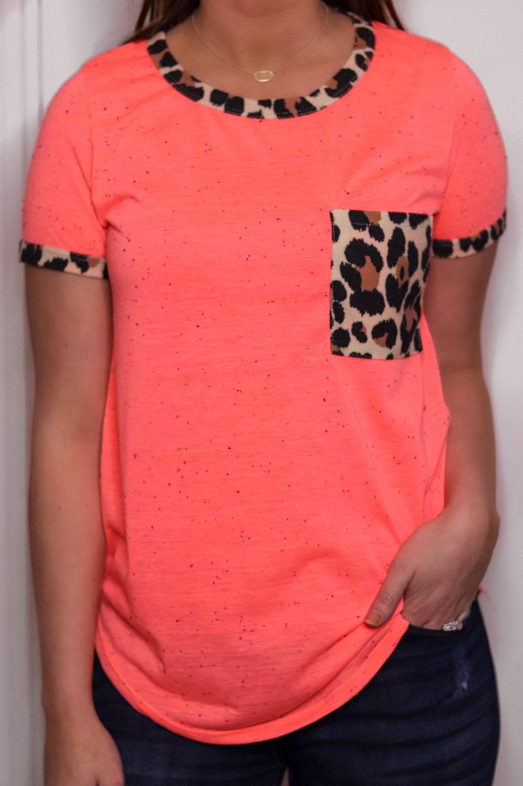 Neon Coral Animal Print Pocket Top - EmmyLou Boutique