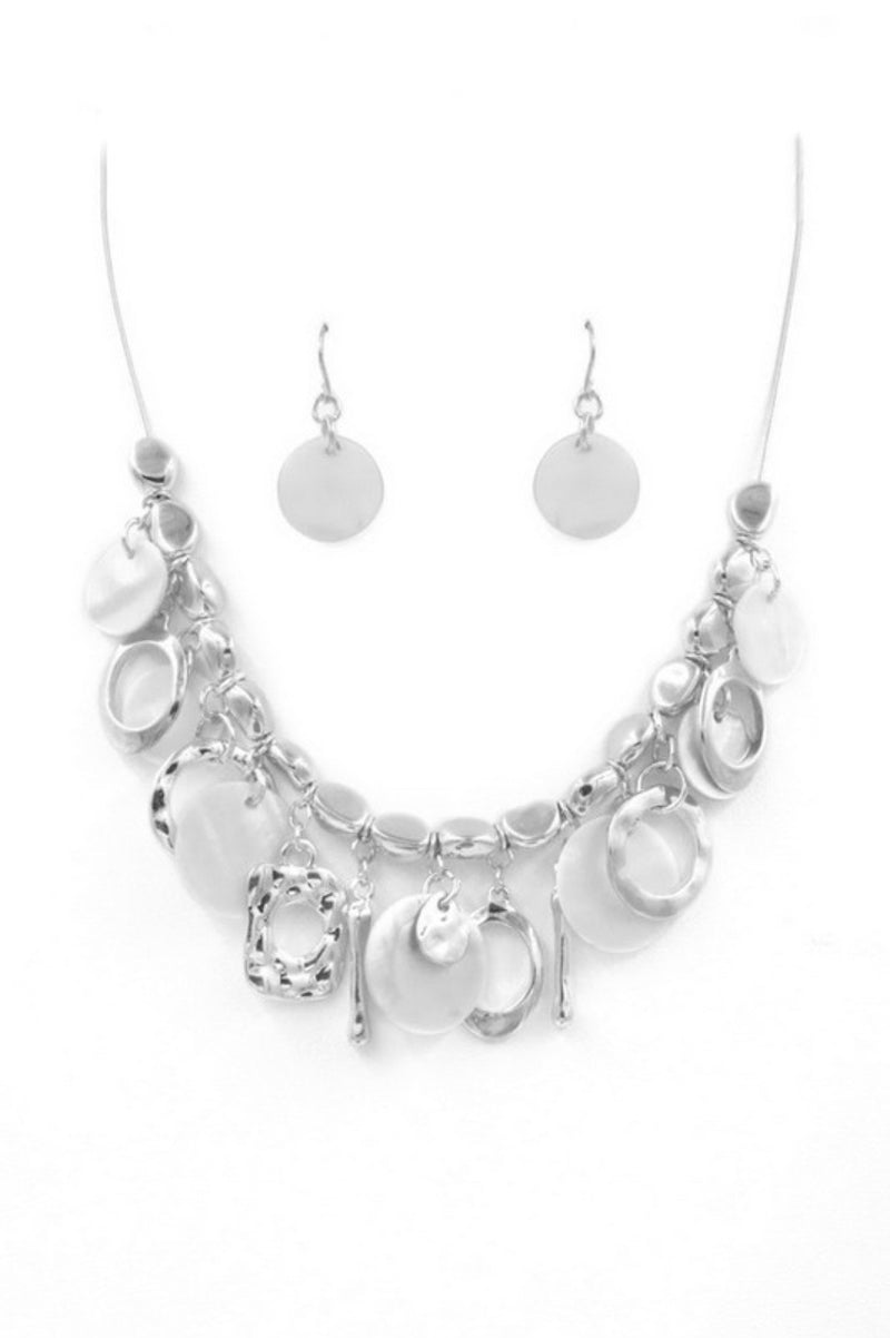 Rhodium Cluster Charm Necklace