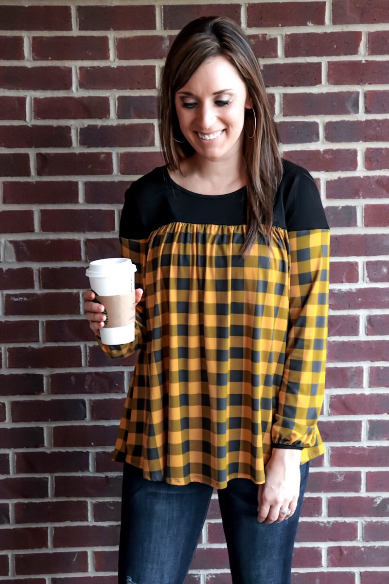 Relaxed Fit Checker Color Block Top