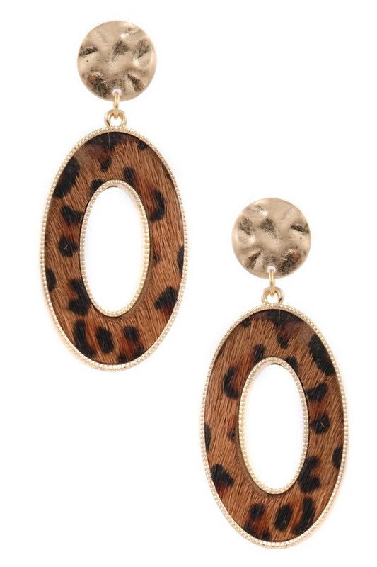 Dark Brown Faux fur oval drop earrings - EmmyLou Boutique