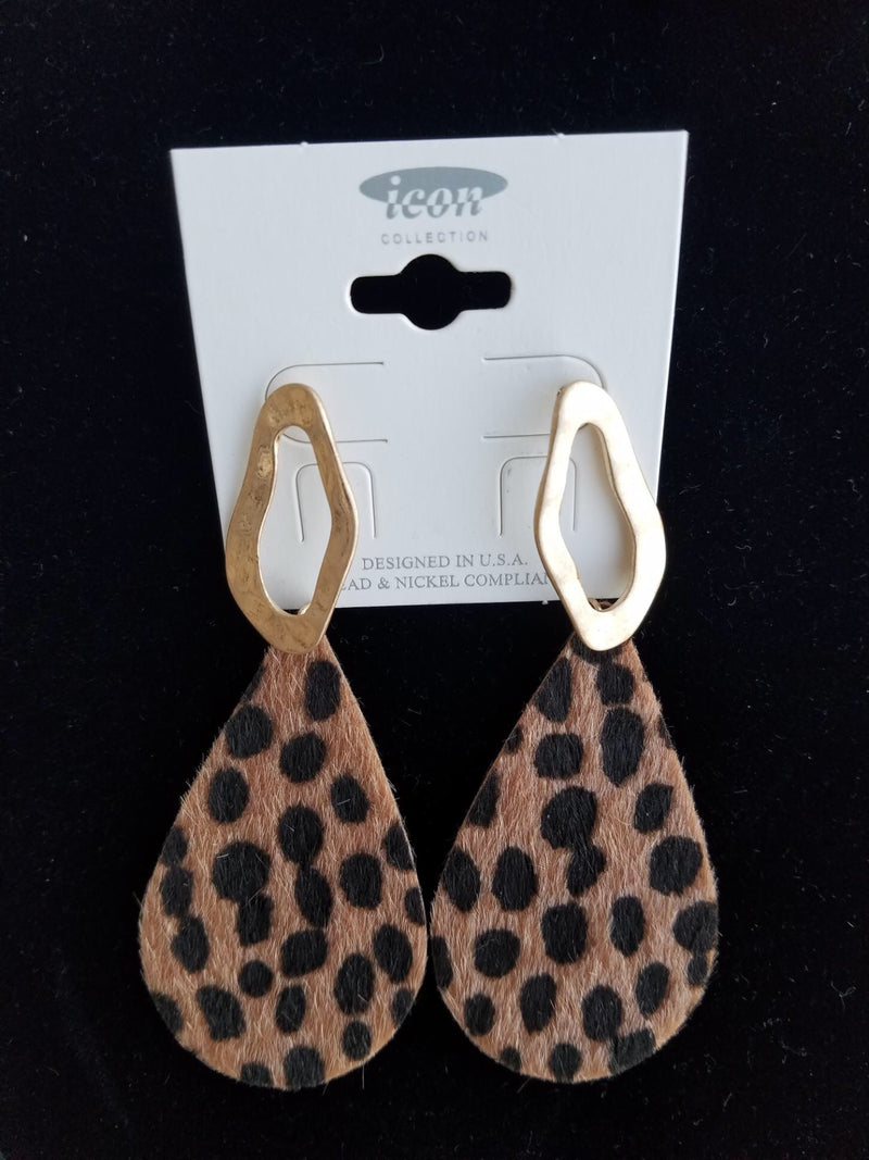 Brown Leopard Faux Fur Hammered Metal Teardrop Earrings - EmmyLou Boutique