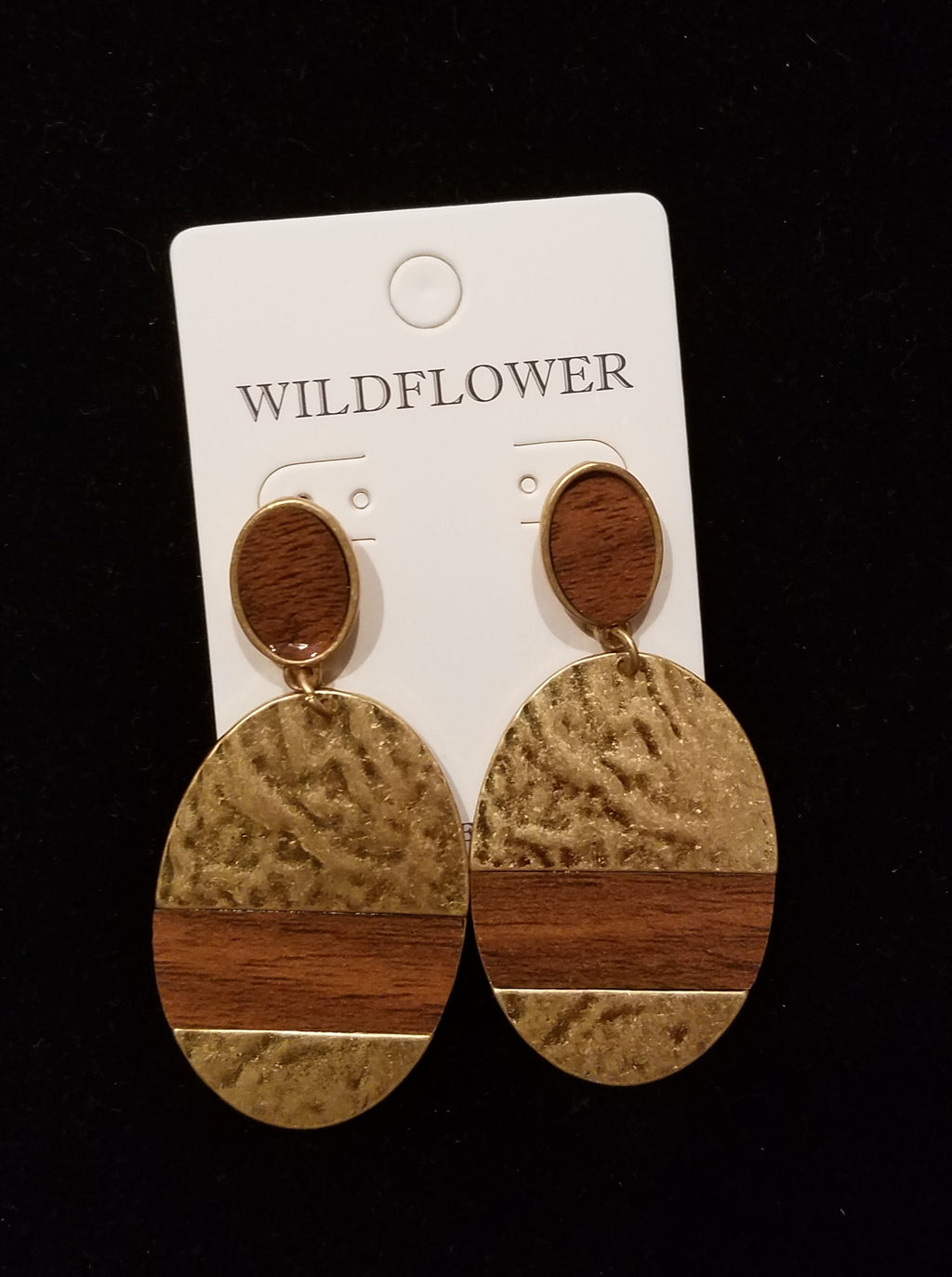 Worn Gold Hammered Metal & Wood Oval Drop Earrings - EmmyLou Boutique