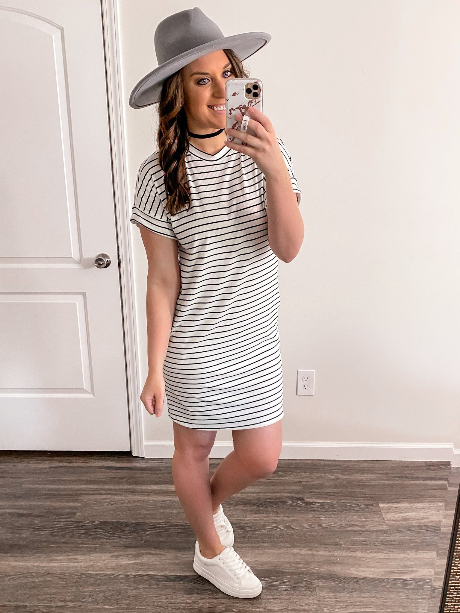 White/Black Striped Summer Dress