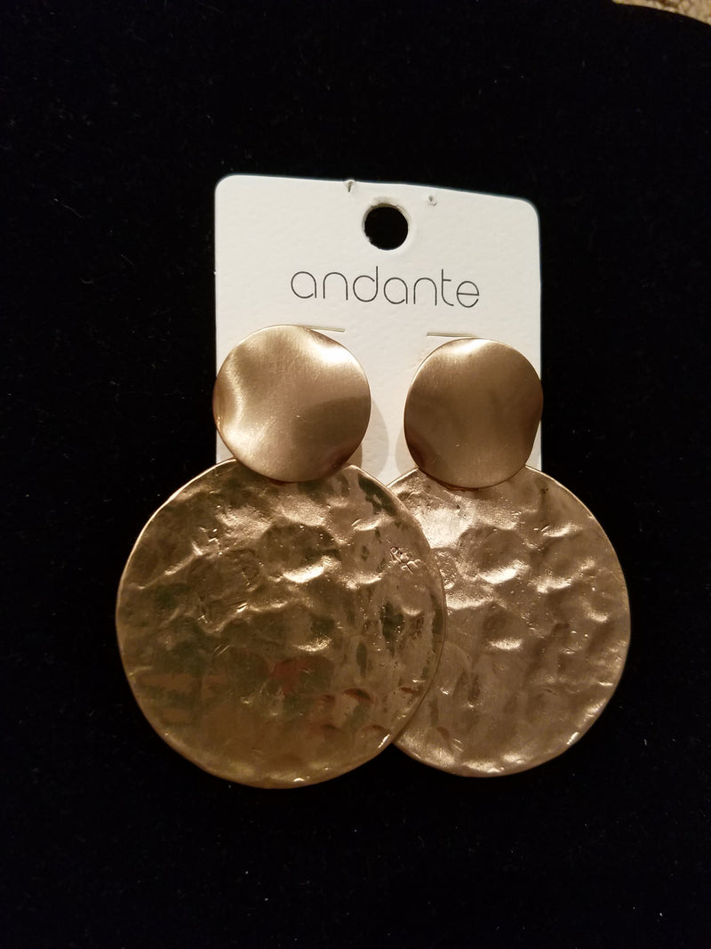 Worn Gold Metal Disc Drop Earrings - EmmyLou Boutique