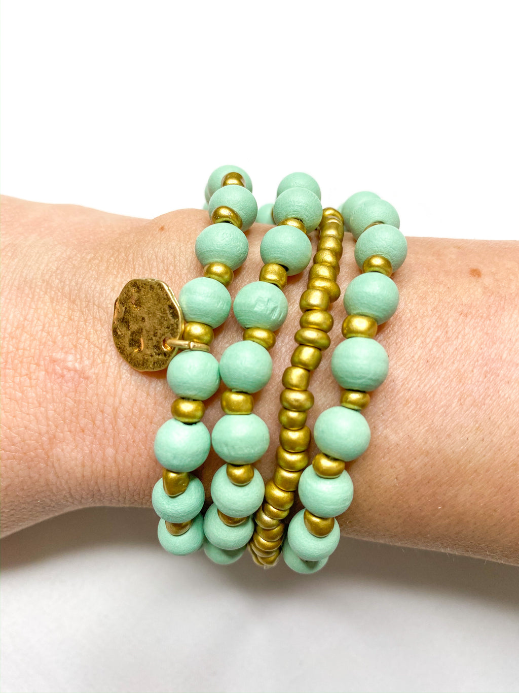 Wooden Mint Beaded Bracelet