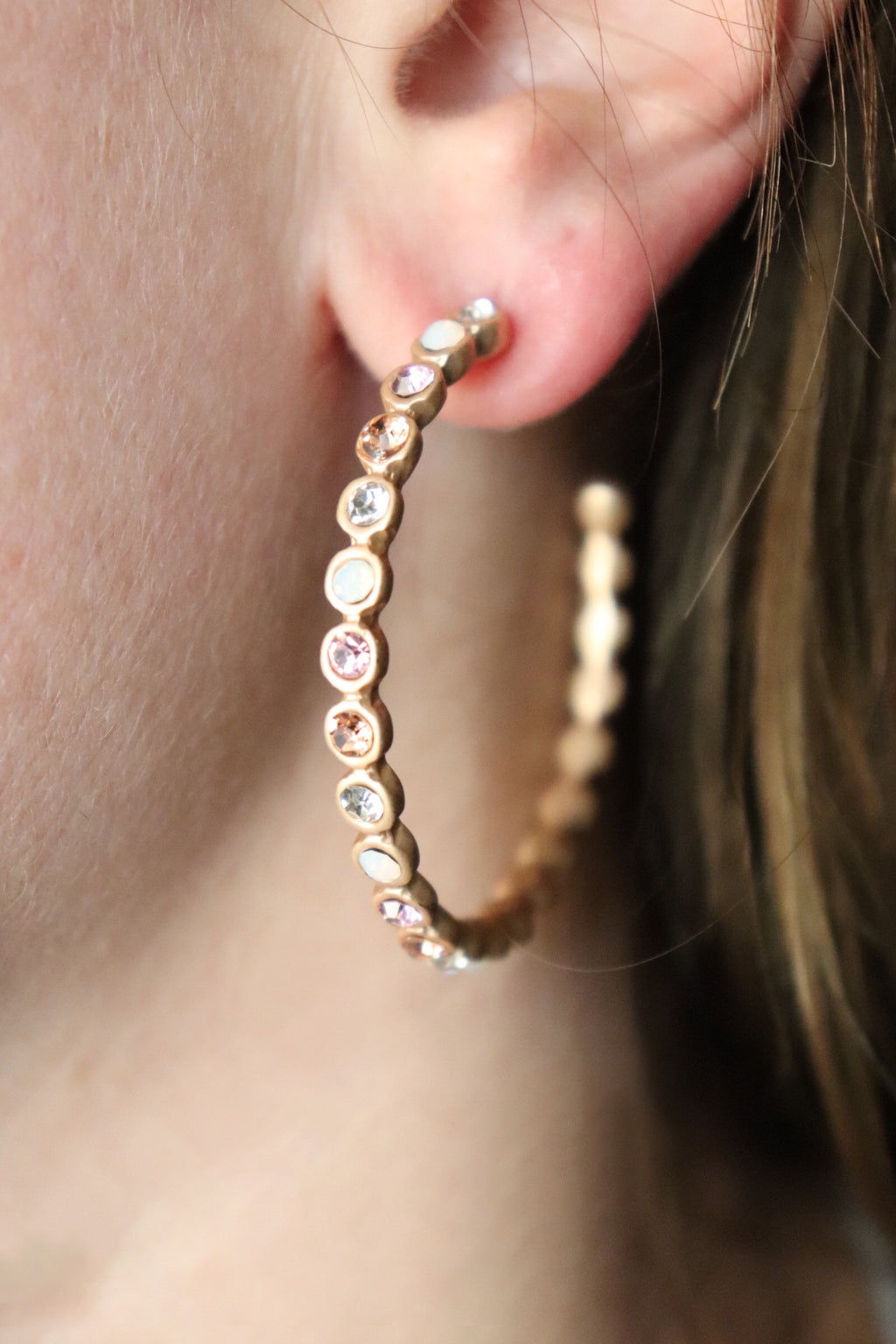 Rhinestone Metal Hoop Earrings