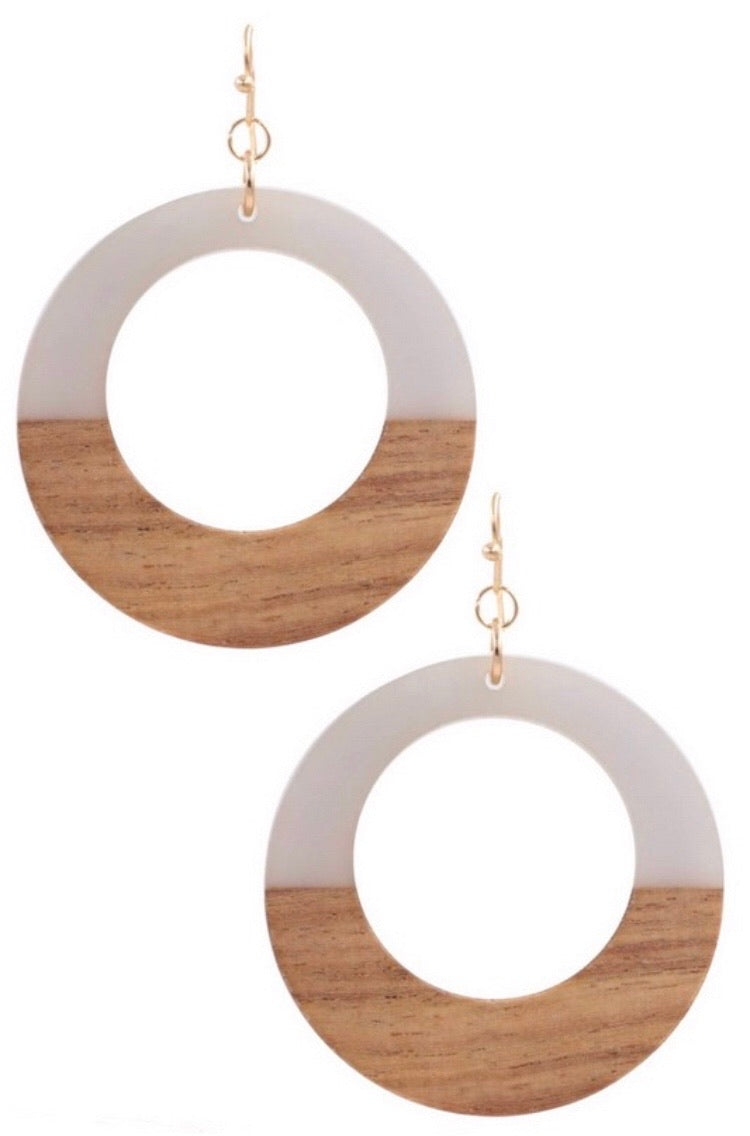 Gray Wood/Resin Hoop Earring