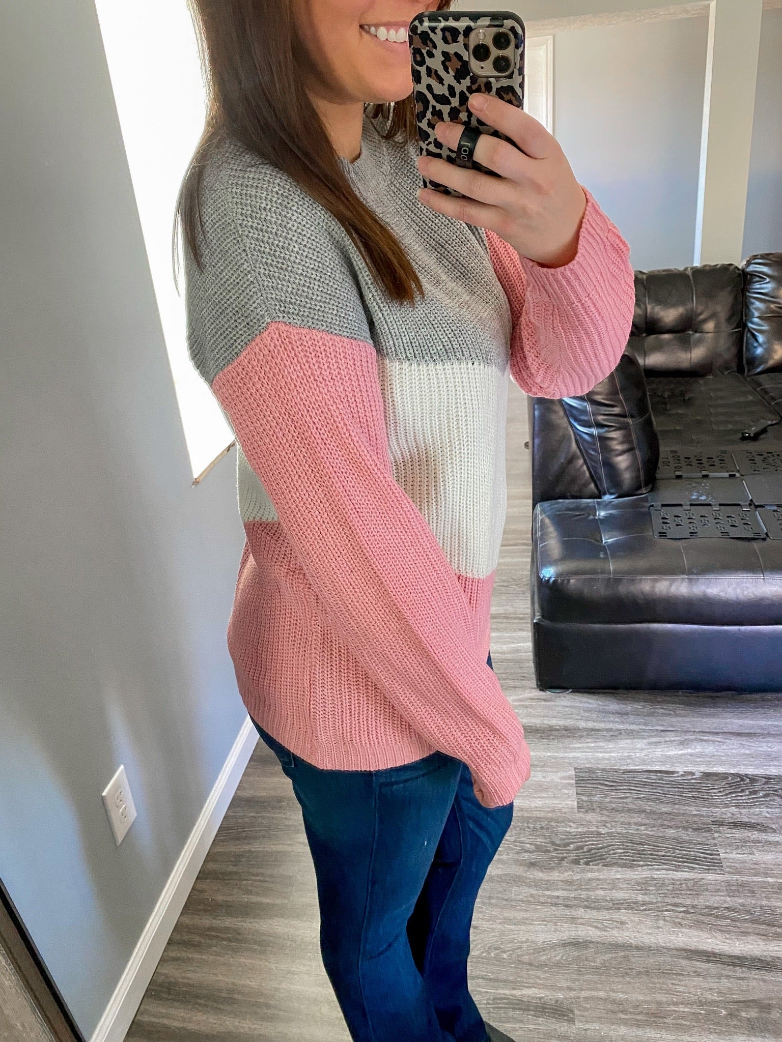 Pink/Grey Oversized Sweater
