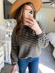 Charcoal/Black Striped Sweater