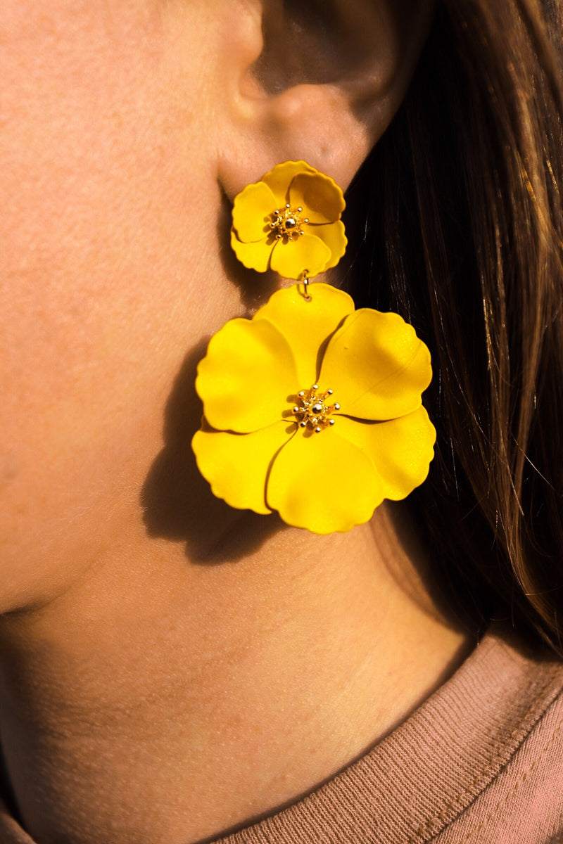 Yellow Matte Flower Drop Earrings