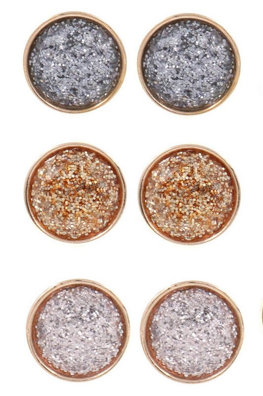 Glitter Glass Circle Post Earrings - EmmyLou Boutique