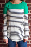 Striped Color Block Top w/ Elbow Patch