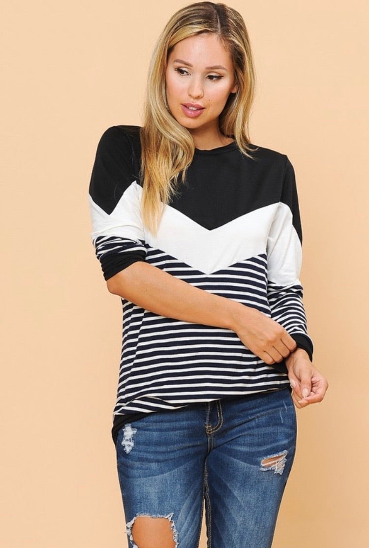 Black/White Striped Top