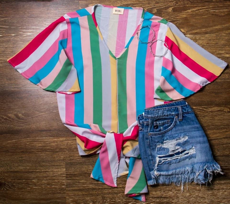 Pink Multi Striped V-Neck Top