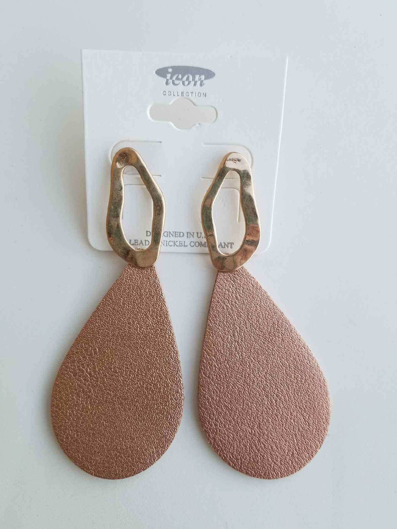Rose Gold Faux Leather Hammered Metal Teardrop Earrings - EmmyLou Boutique